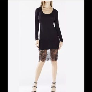 BCBGMAXAZRIA Livi Lace-Hem Dress, size M